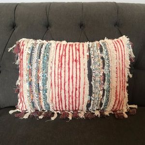 Multicolored Distressed Tassel Pillow